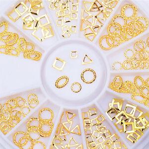 3D-Nagelsticker-Strass-Stud-Nail-Art-Manikuere-Gold-Hohl-Niet-Dekoration-Im-Rad