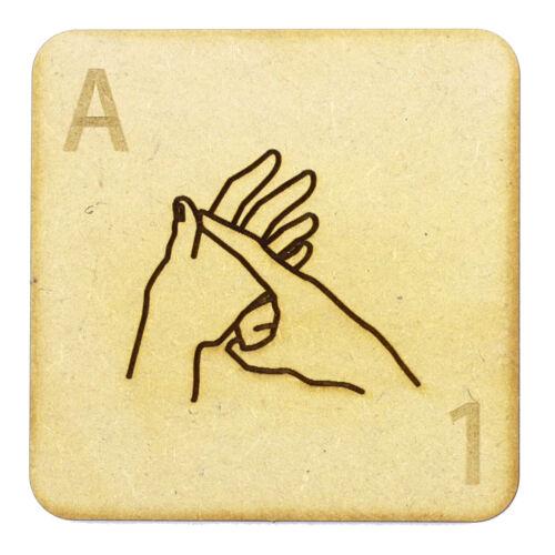 75mm Grande Alfabeto Azulejos 3mm Madera Mdf sordos Fingerspelling Scrabble Azulejos
