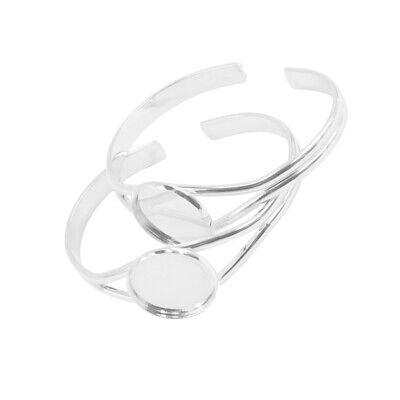2Pcs Round Bezel Cabochon Base DIY Bracelet Cuff Bangle Setting Blank 16//20//25mm