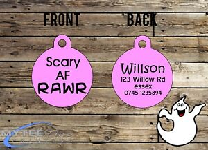 "Halloween DOG ID Collier Tag ""effrayant que F *** rrrrrh"" - Double face Pet Charm Tag-afficher le titre d`origine HOJ7ERqh-07224515-983937161"