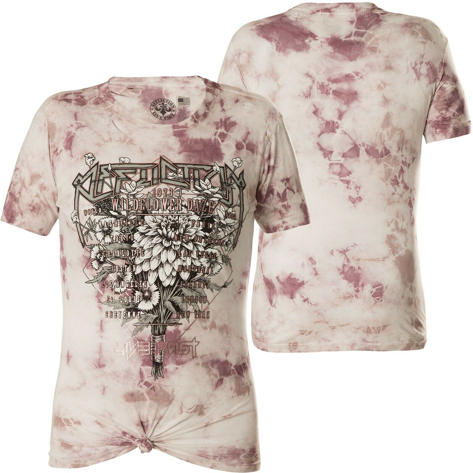 AFFLICTION Damen T-Shirt Wildflower Daze Weiß Rosa
