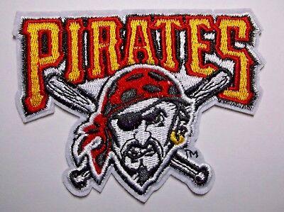 """Fettiges Essen Zu Verdauen Baseball & Softball Nachdenklich Pittsburgh Pirates Bestickt Patch ~ 9.8cm X 3 """"~ Iron Aufnäher ~ Mlb ~ Schiffe Um Zu Helfen"""