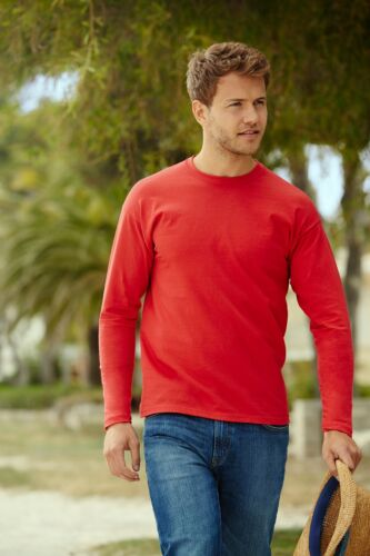 Fruit of the Loom Long Sleeve T Shirt 100/% Cotton Plain Tee Mens T-Shirt Lot