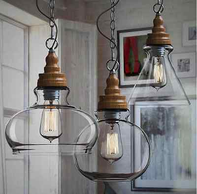 Wooden Pattern DIY Ceiling Lamp Light Glass Pendant Lighting Edison Bulb Home