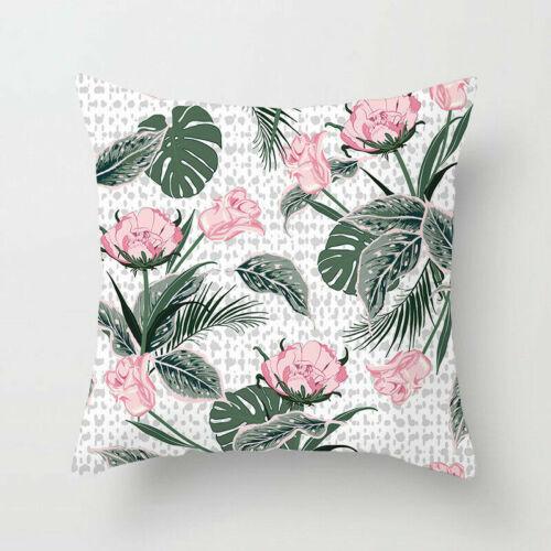 Green Leaf Plant Pillow Case Sofa Waist Throw Cushion Cover Polyester Home Decor
