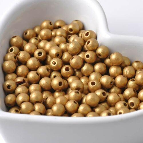50 Perles en Bois 6mm Couleur Doré Creation bijoux