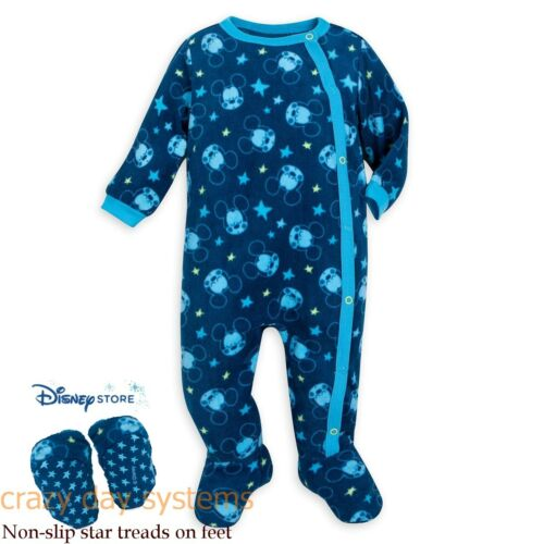 Disney Store Mickey Mouse Fleece Footed Snap Pajamas 0 3 6 12 18 Months Baby