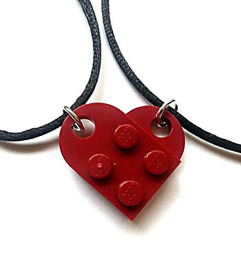 Black Lego Couples Heart His and Her/'s Necklace Set Black Lego heart 3176 set