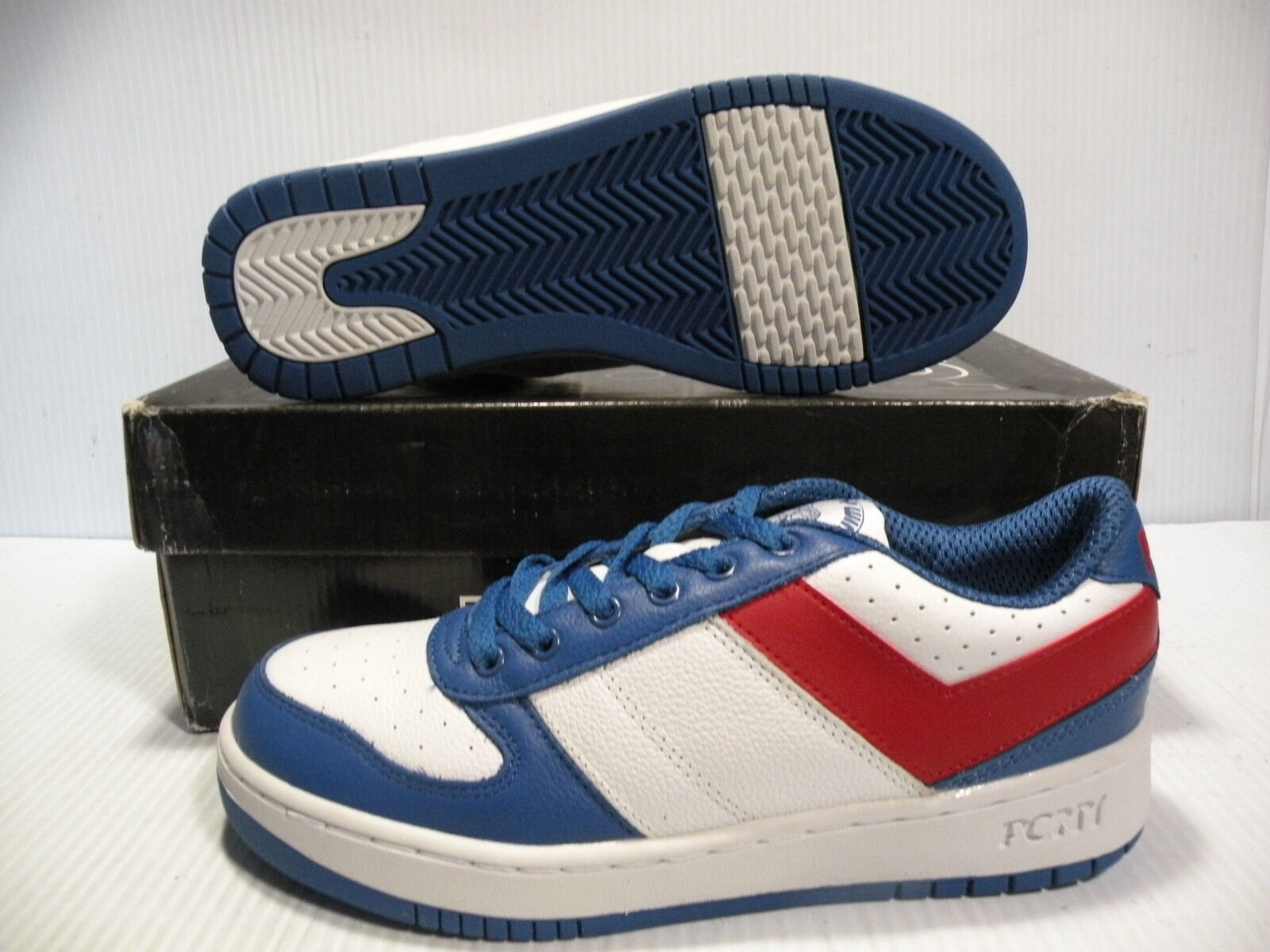 PONY CITY WINGS LOW CHEVRON SNEAKERS MEN SHOES WHITE/BLUE/RED SIZE 7.5 NEW