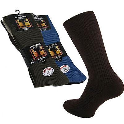 3/6 PAIRS BIG FOOT SIZES 11 TO 14 MENS 100% COTTON SOCKS NON ELASTIC DIABETIC