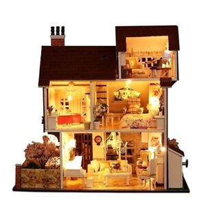 Wooden Miniature Handmade Diy Doll House Furniture Kit Children Gift