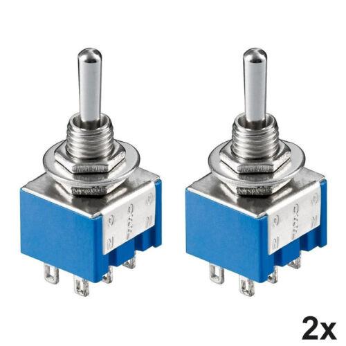 2x Miniatur Kippschalter 2-polig 6 Pins Umschalter mit Lötösen EIN-AUS-EIN