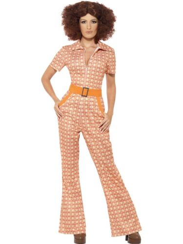 70/'s Authentic Chic Jumpsuit Groovy Female Womens Ladies Fancy Dress Costume