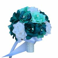10 Bridal Bouquet - Teal Jade White Roses Artificial Flowers