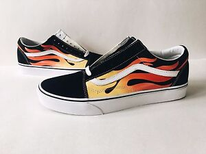80fa01f4603 VANS OLD SKOOL FLAME  SZ 13  BLACK WHITE RED LOW REISSUE SUPREME ...
