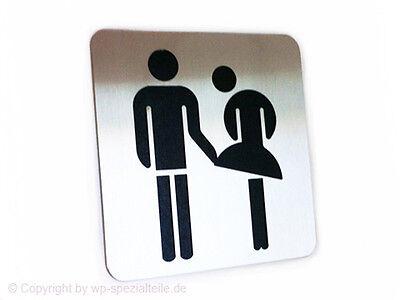 Piktogramm Edelstahl Schild  WC Damen Herren Türschild Gaststätte NEU lustig