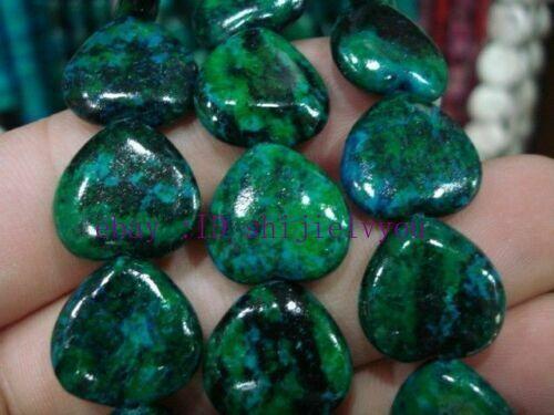 "15x15mm Azurite Chrysocolla Heart-shaped Gemstones Loose Beads 15/"""