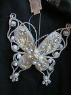 2 x Vintage style Christmas gold butterfly hanging ornaments tree decorations