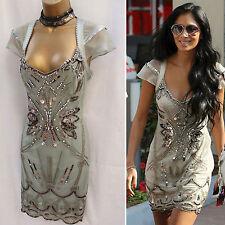 KAREN MILLEN 20s Silk Diamante Embellished Flapper Celebrity Wedding Dress 12 UK