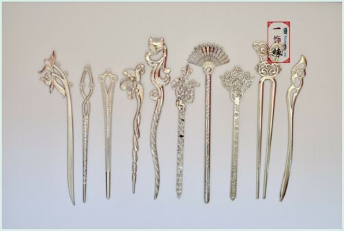 3 Random Chinese Sliver and Golden Hair Accessories Blank Hair Sticks and Pins