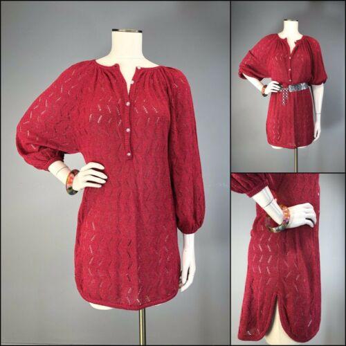 Vtg 70s Sweater Tunic Mini Dress Knit ORGANICALLY