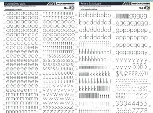 #470 FUTURA EXTRA LIGHT 13.5mm Letraset MECANORMA Transfer Lettering Sheet A3