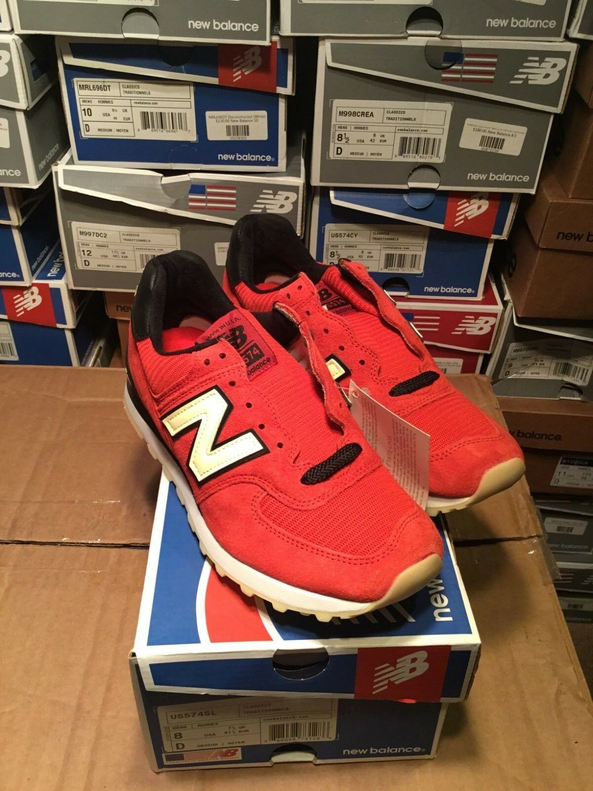 NEW BALANCE 574 M574 US574SL RED MADE IN USA Size 8 BRAND NEW