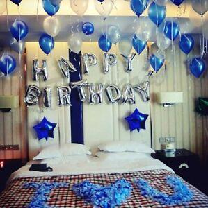 Globos De Latex Y 3d Papel Aluminio Azul Decoracion Para Cumpleaños Hombre Set 603404285624 Ebay