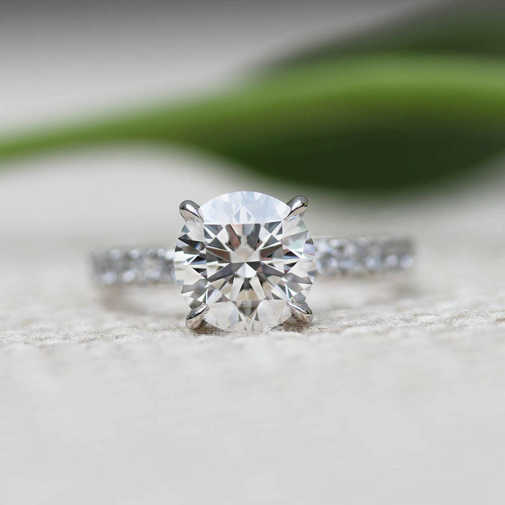 0.95Carat Round Cut Solitaire Real Diamond Rings 14K White gold Engagement Rings