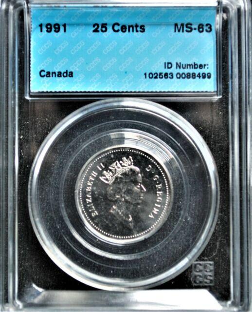 1991 Canada 25 cents CCCS MS-63