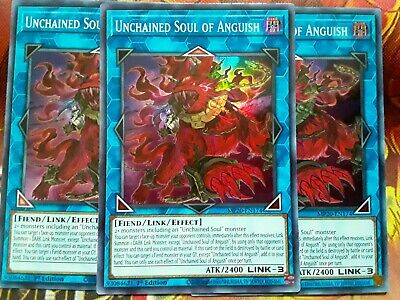 MP20-EN174 1st Edition Yu-Gi-Oh Super Rare x3 Unchained Soul of Anguish M
