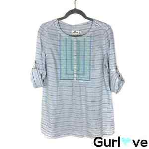 Vineyard Vines Womens Size 8 Blue Striped Embroider Half Button Linen Tunic Top