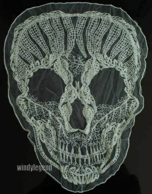 10 Pcs Crochet Skull Motif Lace Sewing Applique Polyester Lace Fabric Trimming