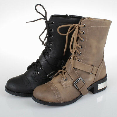 Women Military Combat Boots Motorcycle Riding Buckle Zipper Metal PU-Leather