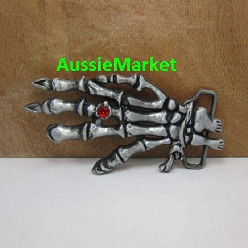 1 x mens ladies belt buckle jeans skeleton hand claw finger rhinestone goth new