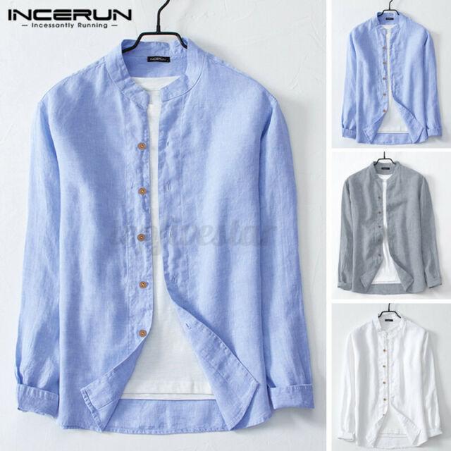 INCERUN Men/'s Long Sleeve 100/%Cotton Shirt Collarless Casual Blouse Tops Tee UK