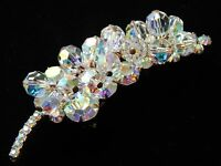 Vintage Juliana BOOK Piece Leaf Flower AB Draping Crystal Bead Brooch Pin MINTY