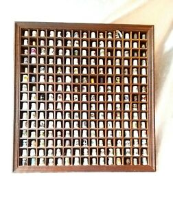 Collection-Of-225-Thimbles-In-An-Open-Front-Wooden-Display