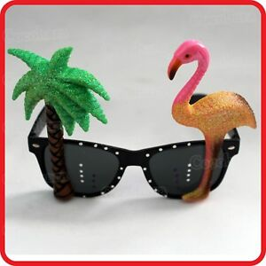 Details about TROPICAL HOLIDAY COCONUT PALM TREE & FLAMINGO GLASSES SUNGLASSES COSTUME PARTY
