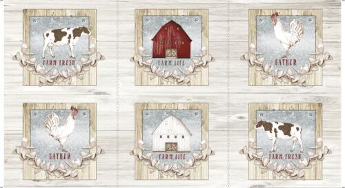 "FABRIC QT ~ FARM LIFE ~ Christine Andersen PANEL 24/"" x 45/"" 27676 E"