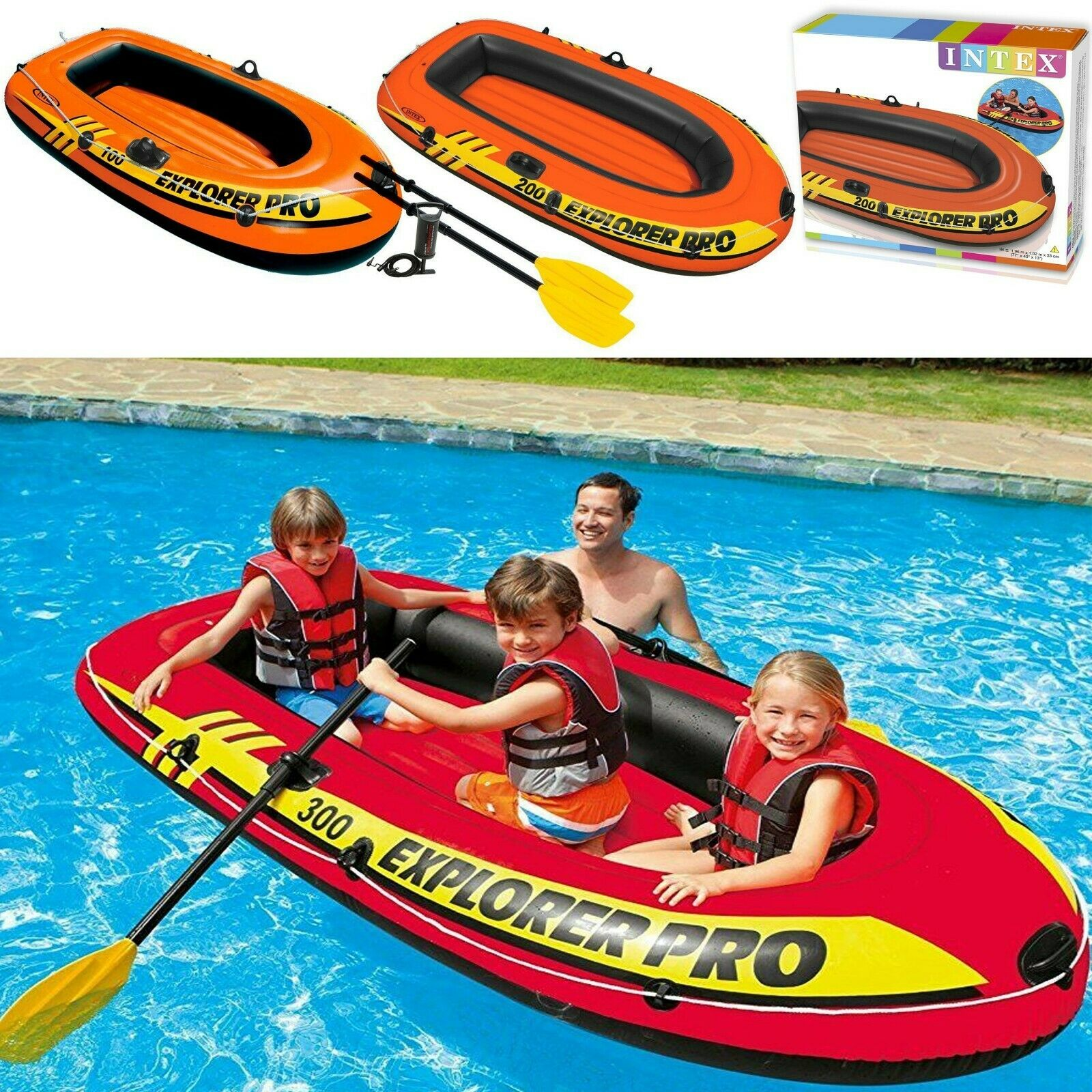 Intex Explorer Pro Dingy Inflatable Rubber Boat Air Pump Paddles 1 2 3 Person