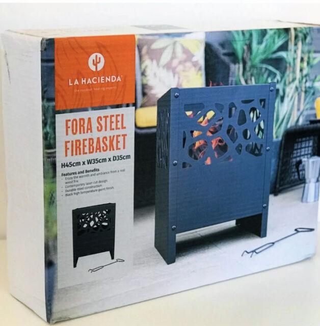 Outdoor Fire Pit Log Burner Garden Patio Heater Steel Black Firebasket UK Stock