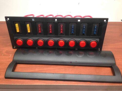 MARINE BOAT SPLASHPROOF SWITCH PANEL 8 GANG WITH LED INDICATOR ROCKER AUTO FUSES