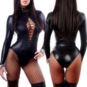 Wetlook-Leather-Catsuit-Women-Adult-Jumpsuit-Bodysuit-Clubwear-Lingerie-Costume