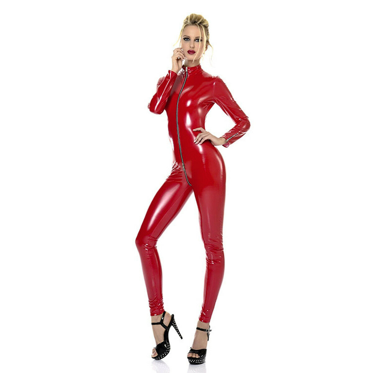Patrice Catanzaro Sweeti Vinyl Wetlook US 2XL size RED catsuit Made in France