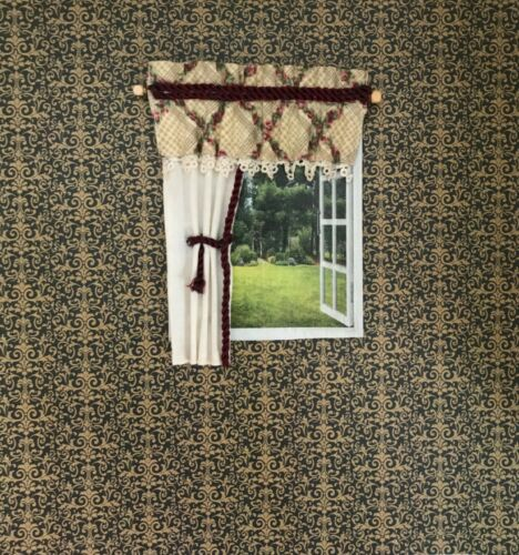 Dollhouse miniature  Floral  with Beige Cotton Curtain #25