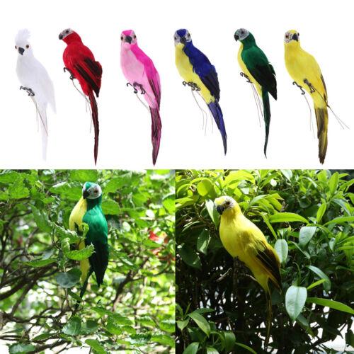 2x Papagei Statue Ornament Baum Stehende Tierskulptur Wohnkultur 35cm
