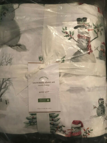 Pottery Barn Queen Snowman Organic Cotton Percale Sheet Set NEW in PACKAGE