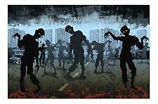 9ft zombies attack wall mural halloween walking dead scene setter photo backdrop