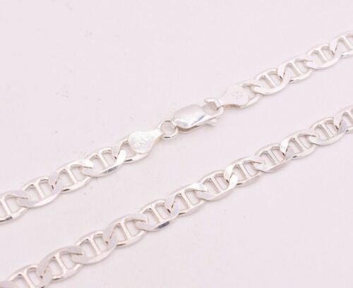 """6mm= 1//4/"""" Mens Solid Mariner Link Chain Necklace Real 925 Sterling Silver Italy"""